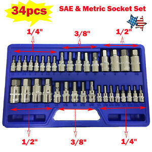 New High Quality 34pc 1 4 3 8 1 2 Sae Metric Socket Set Standard Allen