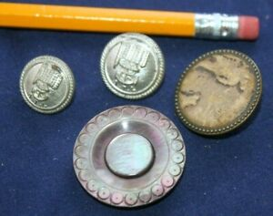 Pre 1900 Old Button Lot Rare Atl Steamship Titanic Era Mop Paris Solid Shank