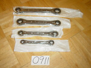 Snap On Tools 4 Piece 0 Degree Offset 12 Point Ratcheting Box Wrench Set Rb604c