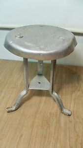 Vintage Old Rustic 3 Leg All Metal Cow Farm Milk Stool Industrial Steampunk A