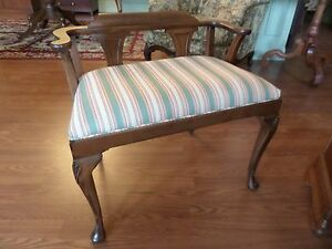 Vintage Vanity Or Piano Bench Upholstered