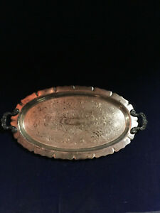 Silversmiths Silver On Copper Serving Tray With Ornate Handles Mansfield Ma