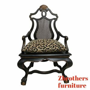 Oversized Maitland Smith Ball Claw Throne Cane Back Arm Chair French Regency A