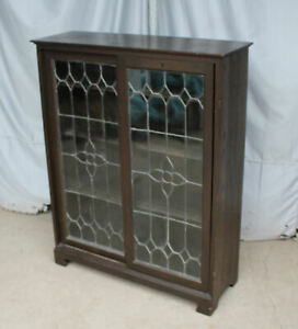 Antique Oak Bookcase Leaded Glass Sliding Doors Stylish And Functional Beaut