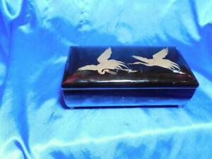 Vintage Japanese Black Lacquer Musical Jewelry Box Gold Cranes