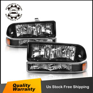 For 98 04 Chevy Blazer S10 Black Amber Headlight Lamp Signal Reflector Bumper
