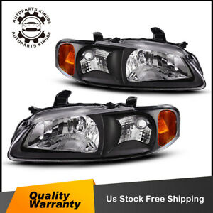 For 2000 2003 Nissan Sentra Black Amber Headlights W Corner Signal Lamps Pair