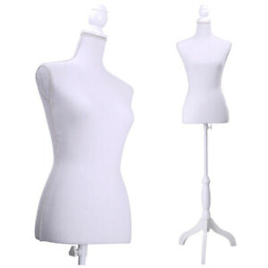 White Female Mannequin Torso Dress Form Tripod w Stand Display Us Ship