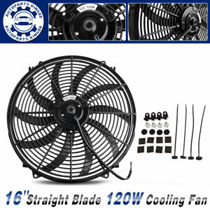 16 Inch Slim Pull Push Radiator Universal Electric Cooling Fan 120w Mount Kit