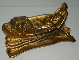 Large Art Nouveau Gilt Metal Inkwell Dutch Woman Rowing A Boat