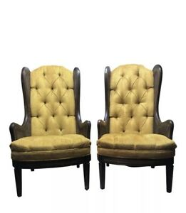 Pair Vintage Mid Century Gold Tufted Velvet Cane High Back Chairs