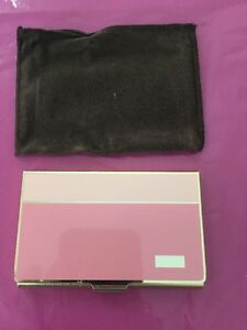 Calibri Gold Plated Business credit Card Holder Made In Japan Pink On Pink