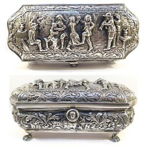 Victorian 800 Silver German Repousse Footed Box C 1880