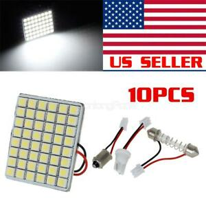 10pcs Extra White 48 5050 smd Led Panel Lights Festoon T10 Ba9s Adapters
