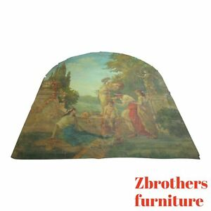 Huge Antique Wall Mural Painting Woman And Children Cherub Tapestry
