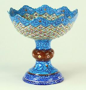 Fine Antique Islamic Minakari Mina Enamel On Copper Raised Bowl Compote