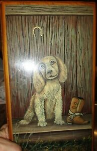Hand Made Small Wood Table Box Spaniel Puppy Boot Hand Painted By W P