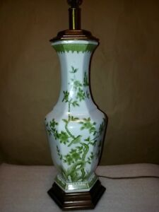 Antique Chinese Porcelain Famille Vert Vase Qing Period Made Into Lamp