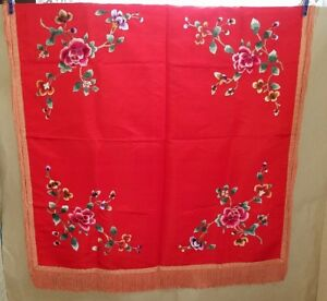 Antique Elegant Oriental Chinese Red Silk Embroidered Tablecloth Long Fringe