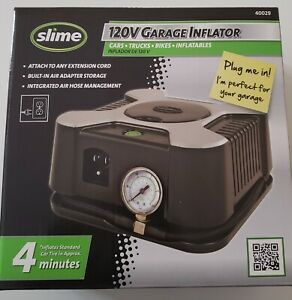 Slime Wall Plug in 120 volt Tire Inflator 40029 Portable 150 Psi Gauge x
