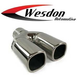 Exhaust Tip 2 25 Inlet 5 75 X 2 75 X 7 50 Dual Square Single Wall Slant Stainles