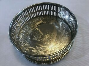 Falstaff Silver Plate Wine Coaster Ornate Ships Sirens Reticulated Art Sea Life