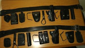 2 Leather Police Belts Lot Safariland Gun Holster Bianchi Mag Cuff Badge Pouch