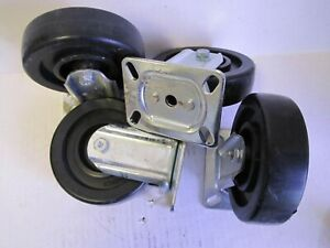Lot Of 4 E r Wagner 5 X 1 3 8 Rigid Plate Polyolefin Casters