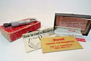 Starrett Micrometer With Wrench 576 Tubing Caliper Vintage