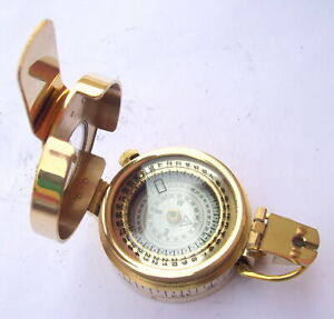 Antique Prismatic Vintage Nautical Compass Military Engineering Brass Style