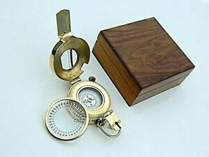 1941 Nautical Brass Prismatic London Army Vintage Compass Mk Iii With Wooden Box