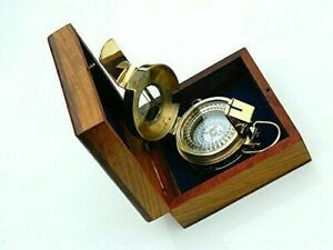 Prismatic London 1941 Army Vintage Compass With Wooden Box Nautical Brass Mk Iii