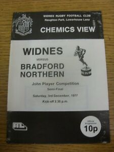 03 12 1977 Rugby League Programme: John Player Competition Semi Final Widnes v GBP 2.99