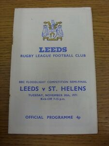 30 11 1971 Rugby League Programme: BBC Floodlight Competition Semi Final Leeds GBP 2.99