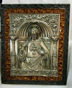 Antique Silvered Metal Dimensional Jesus Framed Picture W Unique Frame Spain
