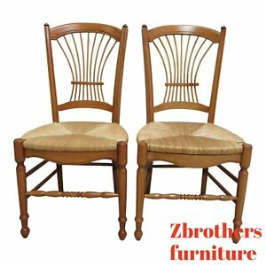 Pair Hickory Chair Company Fan Back Windsor Rush Seat Dining Room Side Chairs A