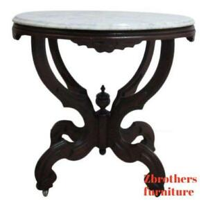 Antique Victorian Carved Turtle Top Walnut Marble Top Lamp End Table