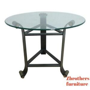 Vintage Decorator Bronze Finish Wrought Iron Glass Top Lamp End Table Pedestal