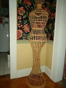Vintage Collectors 50 s Wicker Metal 62 In Hi Mannequin Dress Form
