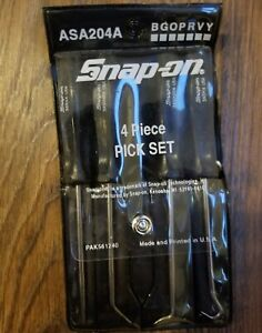 Snap On Classic Black Hard Handle 4 Piece Pick Set Asa204a W Snap On Holder