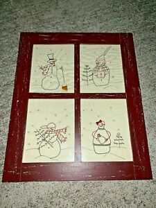 Vintage Antique Primitive Snowman Stitchery Window Pane Wall Art Rare 21 17 M9