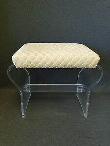 Rare 1970s Lucite Stool Ottoman By Hill S Manufacturing Hollywood Regency Mcm