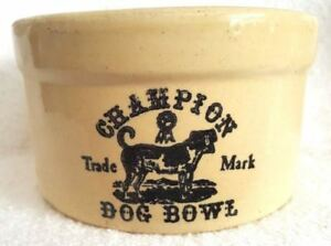 Vintage Champion Trade Mark Dog Food Bowl Crock 2 Primitive Stoneware