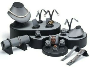 Grey Display Set Showcase Jewelry Display Stand Jewelry Store Displays 20 Items