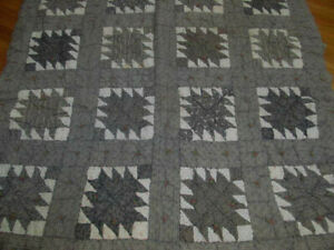 Late 1800s Antique Anvil Quilt Comfort Mourning Blacks Pink White Shirtings