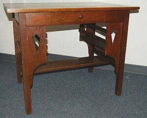 Mission Arts Crafts Stickley Style Dark Oak Desk With Bookshelves Drawer C1910