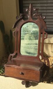 Antique Victorian Eastlake Carved Solid Walnut Wall Cabinet W Drawer