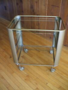 Vintage Circa 1030 40s French Art Deco Solid Brass Glass Bar Tea Cart Trolley