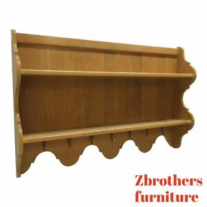 Century Furniture Oak French Country Hanging Wall Shelf Curio Display Hutch