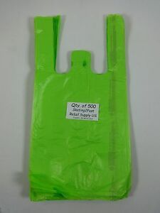 500 Qty Lime Green Plastic T shirt Retail Shopping Bags W Handles 8 x5 x16 Sm